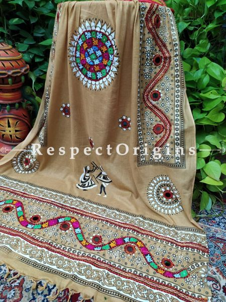 Classy Hand Embroidered Cotton Mirrorwork Stole in Light Brown; 87 X 44 Inches; RespectOrigins.com