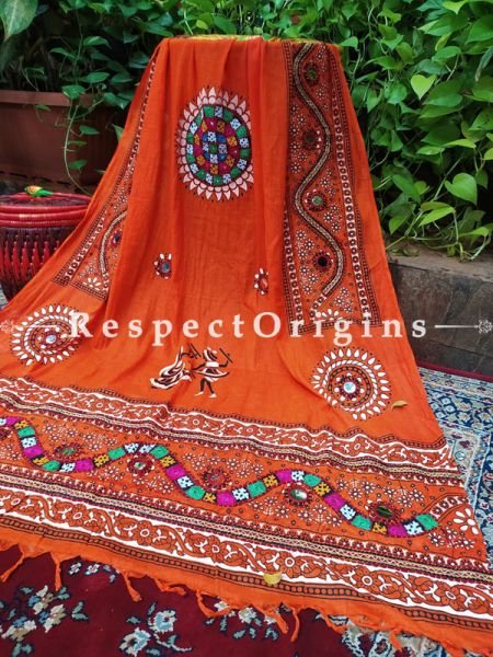 Delightful Hand Embroidered Cotton Mirrorwork Stole in Red; 87 X 44 Inches; RespectOrigins.com