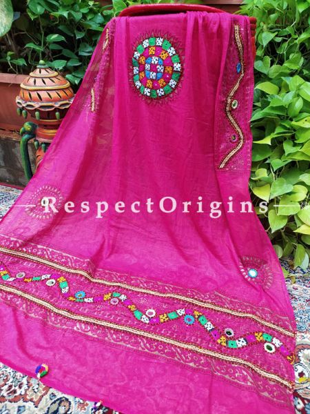 Wonderful Hand Embroidered Cotton Mirrorwork Stole in Fuscia Pink; 87 X 44 Inches; RespectOrigins.com