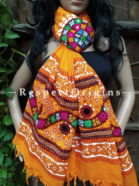 Lovely Hand Embroidered Cotton Mirrorwork Stole in Mustard; 87 X 44 Inches; RespectOrigins.com