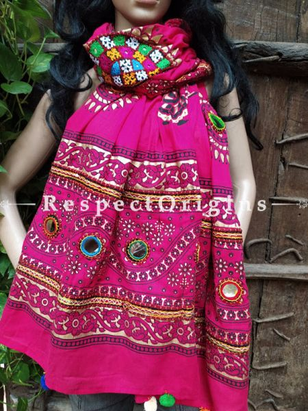 Beautiful Hand Embroidered Cotton Mirrorwork Stole in Hot Pink; 87 X 44 Inches; RespectOrigins.com