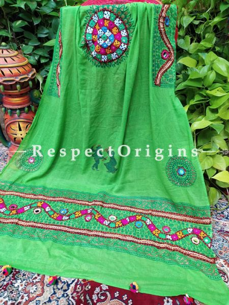 Marvelous Hand Embroidered Cotton Mirrorwork Stole in Parrot Green; 87 X 44 Inches; RespectOrigins.com