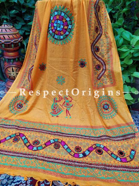 Stunning Hand Embroidered Cotton Mirrorwork Stole in Yellow; 87 X 44 Inches; RespectOrigins.com