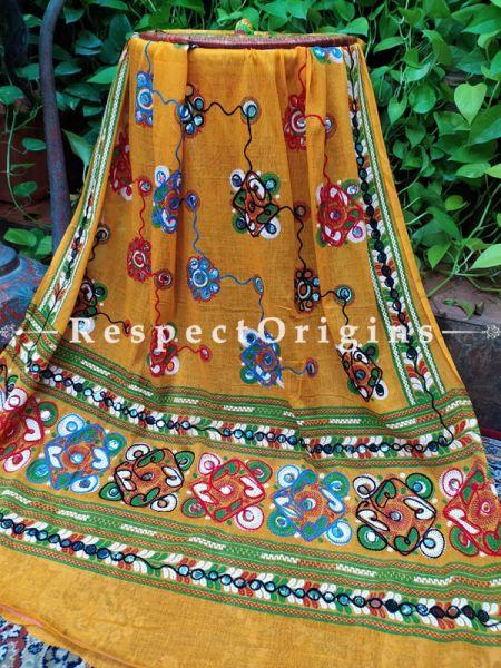 Superb Hand Embroidered Cotton Mirrorwork Stole in Mustard & Green; 87 X 44 Inches; RespectOrigins.com
