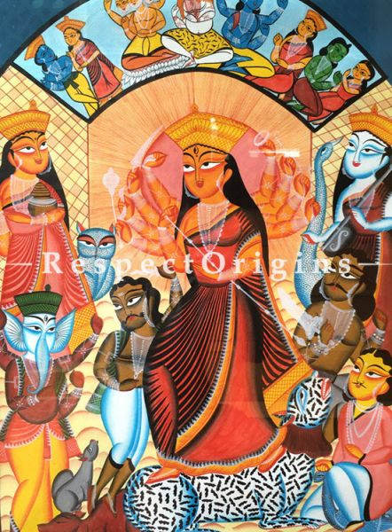 Durga Mohisasur Mardini; Traditional Kalighat Painting Using Natural Colour; Vertical Folk Art of Bengal; 23 X 30 inches; RespectOrigins