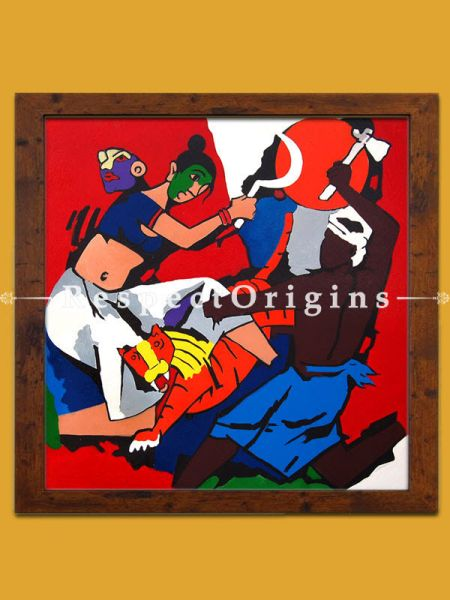 Durga Riding her Tiger; M.F Hussain Reproduction; Acrylic on Canvas; Modern Art Painting: 24x24 in