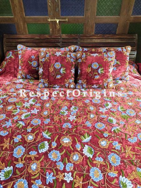 Caroline Rich Red Luxury Velvet Hand-embroidered Aari work King Bedspread with Cushions; RespectOrigins.com