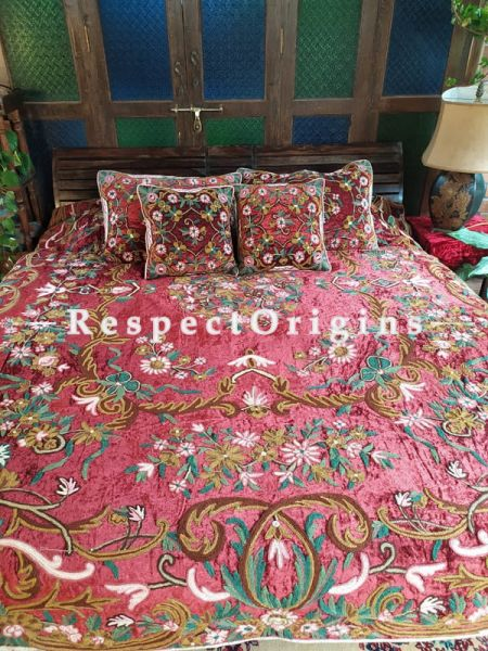 Daisy Red Luxury Velvet Hand-embroidered Aari work King Bedspread With Cushions; RespectOrigins.com