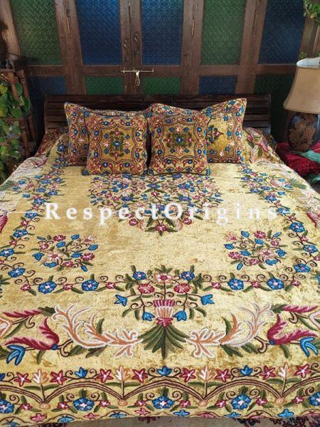 Eliza Almond Luxury Soft Velvet Embroidered King Aari work Bedspread and Cushions; RespectOrigins.com