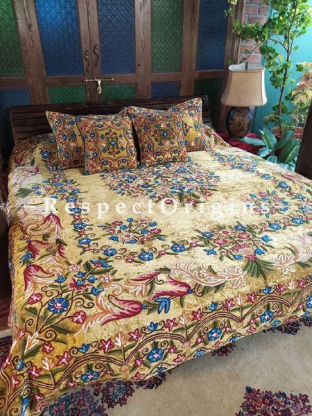 Jasper Rich Beige Luxury Velvet Hand-embroidered Aari work King Bedspread with Cushions; RespectOrigins.com
