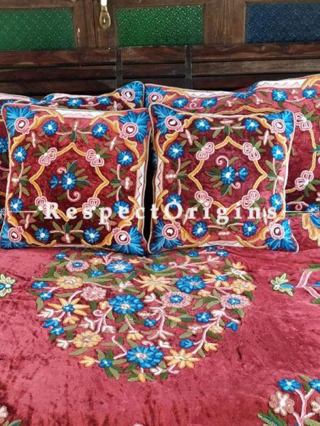Georgia Red Luxury Soft Velvet Embroidered King Aari work Bedspread and Cushions; RespectOrigins.com