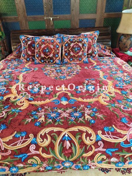 Myra Rich Red Luxury Velvet Hand-embroidered Aari work King Bedspread with Cushions; RespectOrigins.com