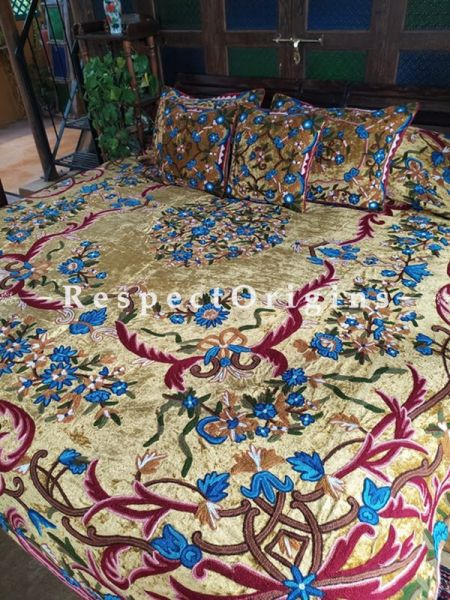 Rebecca Beige Luxury Velvet Hand-embroidered Aari work King Bedspread with Cushions; RespectOrigins.com