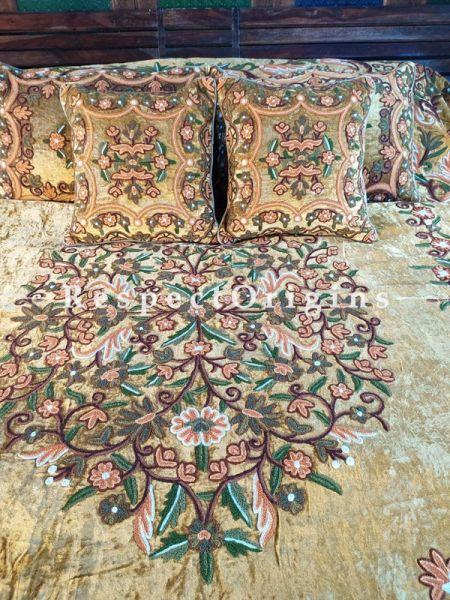 Sarah Beige Luxury Velvet Hand-embroidered Aari work King Bedspread with Cushions; RespectOrigins.com