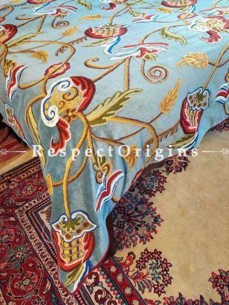 Selina Gray Luxury Velvet Hand-embroidered Aari work King Bedspread with Cushions; RespectOrigins.com