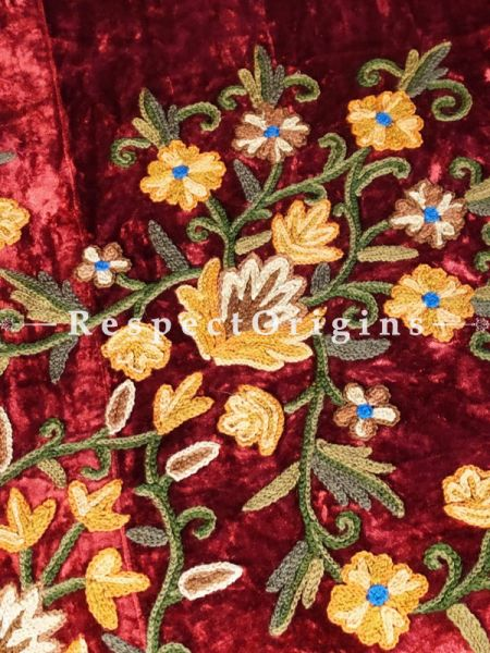 Willa Royal Red Luxury Velvet Hand-embroidered Aari work King Bedspread with Cushions; RespectOrigins.com