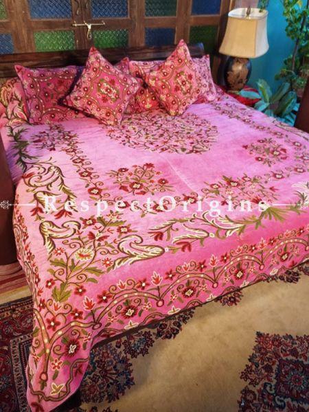 Zylphia Pink Luxury Velvet Hand-embroidered Aari work King Bedspread with Cushions; RespectOrigins.com