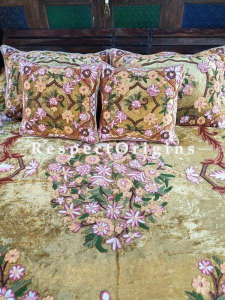 Emelia Beige Luxury Velvet Hand-embroidered Aari work King Bedspread  with Cushions; RespectOrigins.com