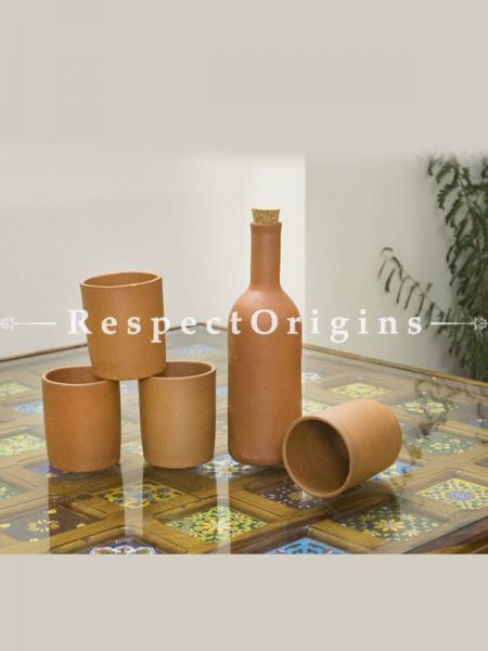 Buy Set of 4 Round Glasses and Earthen Bottle, Terracotta At RespectOrigins.com