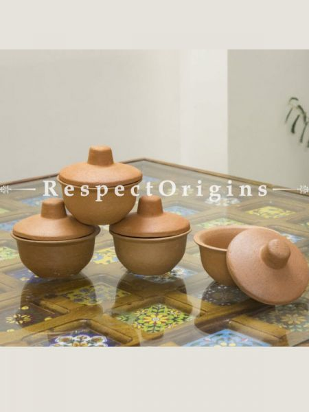 Buy Set of 4 Terracotta Curd Bowl with lid
