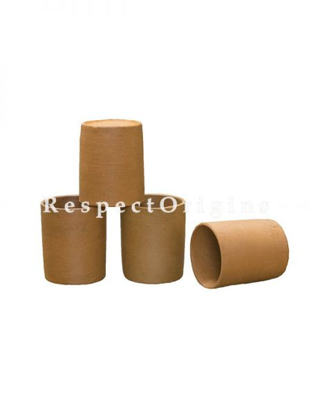 Buy Set of 4 Terracotta Round Glass(200 ml), Hand made At RespectOrigins.com