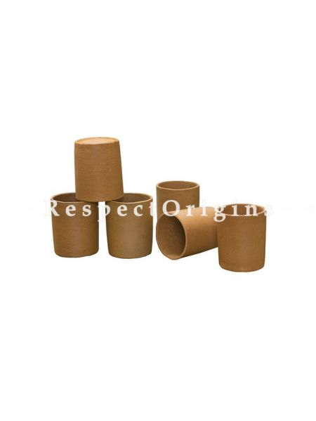 Buy Set of 6 Earthenware Terracotta Round Glass(200 ml) At RespectOrigins.com