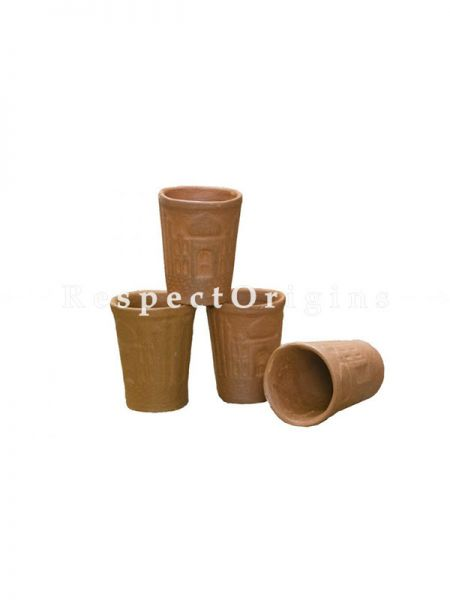 Buy Set of 4 Terracotta Glasses, organic Clay Craft At RespectOrigins.com