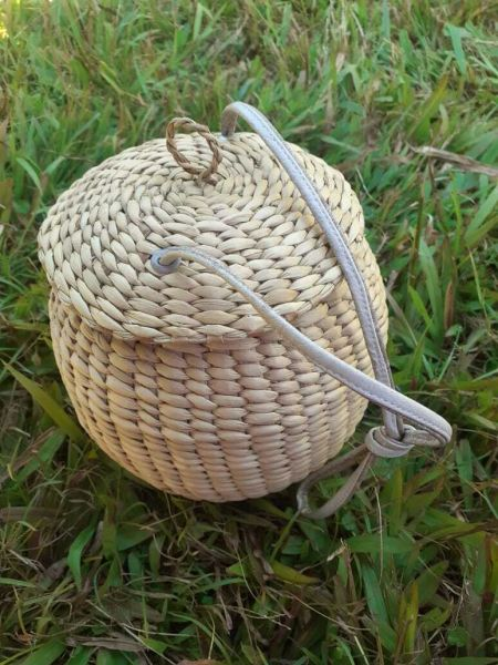Hand Braided Eco friendly Basket with Sling. Circumference in the middle - 23 inchesHeight - 8 inches.; RespectOrigins.com