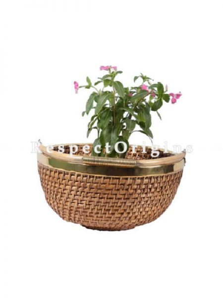 Buy Ecofriendly Hand Braided Round Rattan Cane Planter & Brass Trim and Handle; RespectOrigins.com
