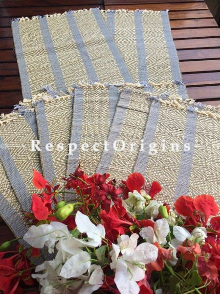 Buy Table Mats Online|Hand Crafted Set of 6 Table Mats and a Runner; Kora Grass; Chemical free|RespectOrigins.com