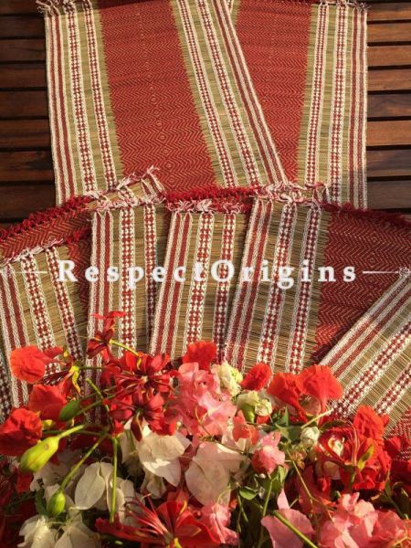 Buy Table Mats Online|Set of 6 Red and White Table mats and a Table Runner; Handcrafted; Kora Grass; Chemical Free|RespectOrigins.com