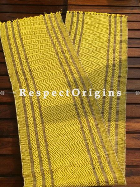 Buy Table Mats Online|Heartwarming Turmeric Yellow Natural Fibre set of 6 Place Mats w/Runner.One of a kind; Kora Grass Hand Woven; Chemical Free|RespectOrigins.com