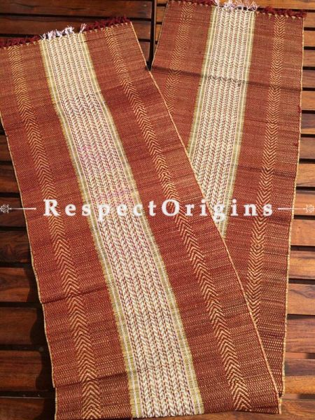 Buy Table Mats Online|Striking Set of 6 Red Table Mats w/ Runner; Kora Grass, Sustainably Sourced|RespectOrigins.com