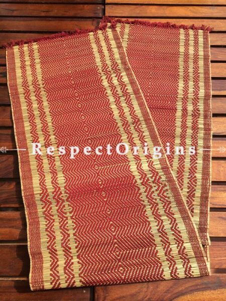 Buy Table Mats Online|Chemical Free set of 6 Maroon Table mat and Table Runner; Kora Grass|RespectOrigins.com