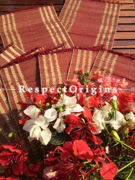 Buy Table Mats Online|Chemical Free set of 6 Maroon Table mat and Table Runner; Kora Grass|RespectOrigins.com