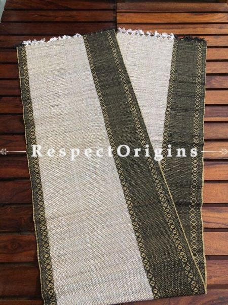 Buy Table Mats Online|Natural; Set of 6 Black table Mats and Table Runner; Kora Grass|RespectOrigins.com