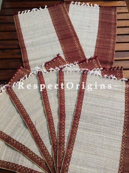Buy Table Mats Online|Set of 6 Table mats and a Table Runner; Handcrafted; Kora Grass; Chemical Free|RespectOrigins.com