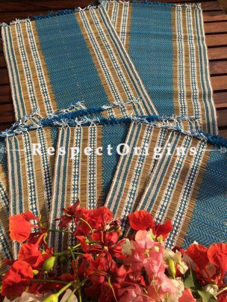 Buy Table Mats Online|Ecofriendly; Set of 6 blue Table Mats and a Runner; Kora Grass|RespectOrigins.com