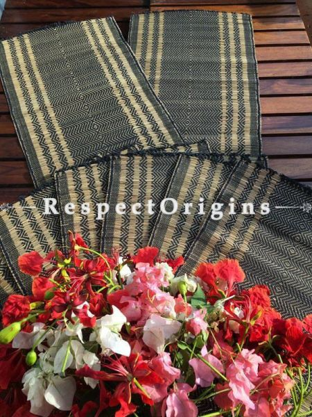 Buy Table Mats Online|Ecofriendly Set of 6 Dark Blue Table Mats with a Runner; Kora Grass|RespectOrigins.com