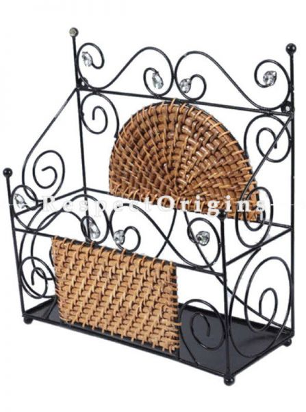 Buy Ecofriendly Rattan Cane Bathroom Shelf with Wrought Iron; RespectOrigins.com