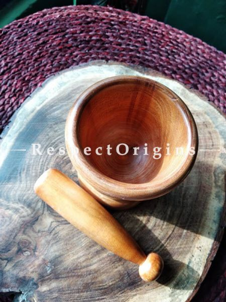 Buy Elegant Natural Wood Mortar And Pestle; Handmade At RespectOrigins.com