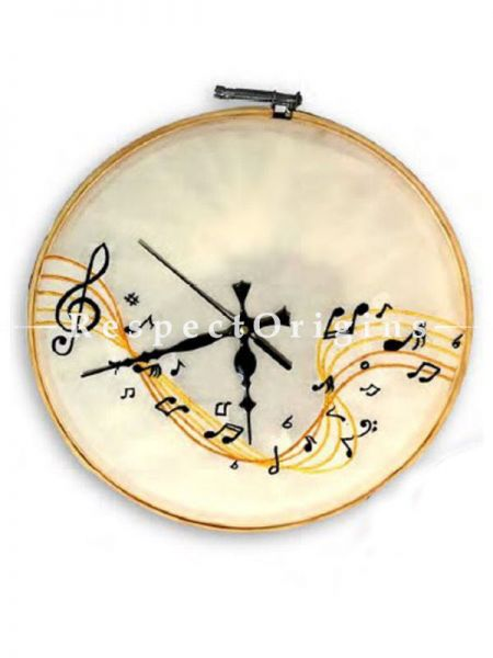 Buy Musical Themed Wall Clock On Silk; Dia 12 in and 10 in Wooden Hoops At RespectOrigins.com