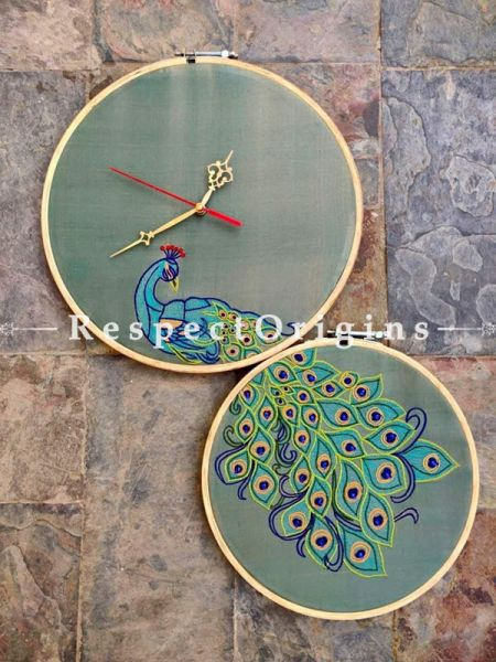 Buy Stunning Hand Embroidered Peacock Wall Clock; Dia -12 in; Silk Fabric With 2 Wooden Loops At RespectOrigins.com
