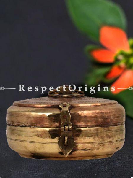 Buy Finely Engraved Design Brass Roti Box, Collectibles, Keepsake Box, Round At RespectOrigins.com
