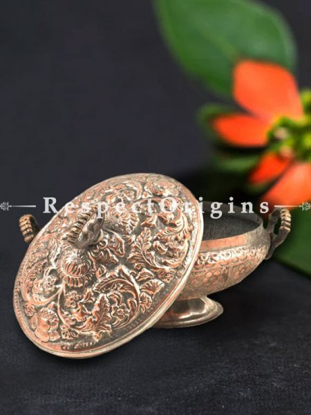 Buy Engraved Kashmiri Copper Rice Bowl With Lid and Handles At RespectOrigins.com