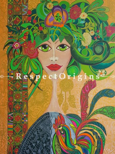 Ethnic Fashion ; Acrylic on Canvas ; 20X28 In ; Vertical Painting|RespectOrigins.com