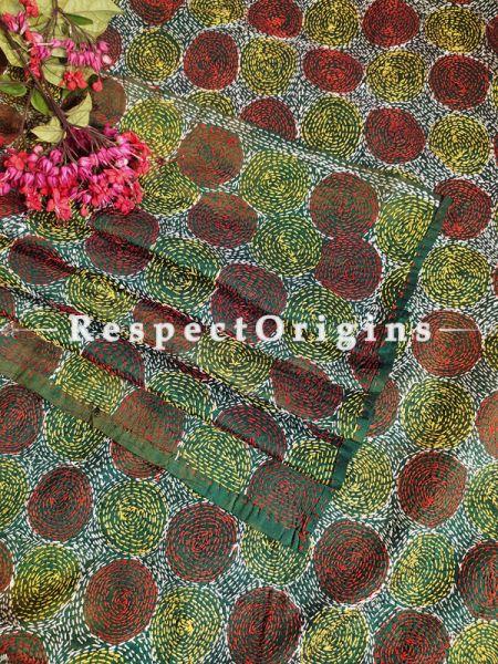 Ethnic Silken Kantha Embroidered Green