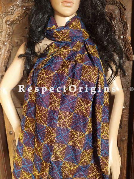 Ethnic Silken Kantha Embroidered Brown, yellow and Blue Stole, Dupatta, Shawl; RespectOrigins.com