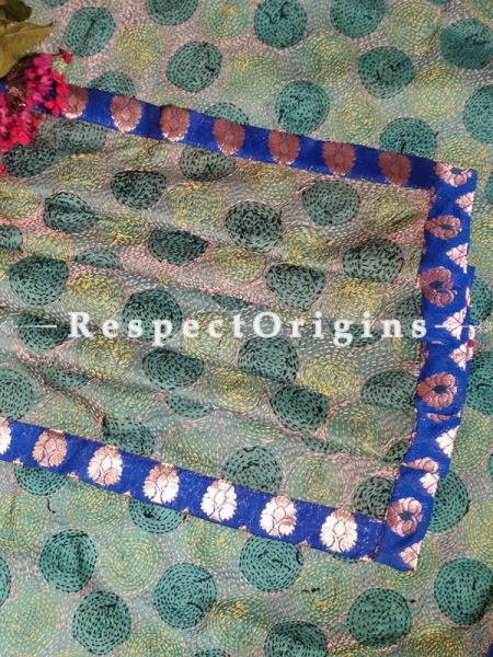 Magnificent Silken Kantha Embroidered Green and Blue Stole with Zari work Border
