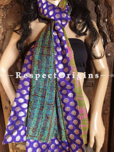 Magnificent Silken Kantha Embroidered Multi-Colored Stole with Zari work Border